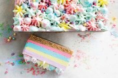 Unicorn jelly cheesecake slice