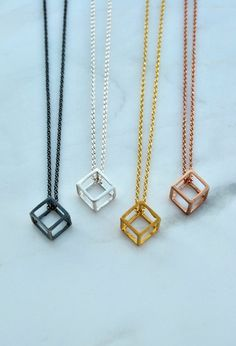 Geometric Necklace, Cube Necklace, Minimalist Necklace, Sterling Silver, Gold, Rose Gold, 3D Geometric Jewelry, Geometric Pendant Women Gift