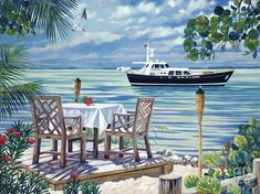 Dining in Paradise by Danielle Perry ~ tropical leisure boating Tropical Art, Tropical Beaches, Framed Prints, Canvas Prints, Art Prints, Danielle Perry, Beach Artwork, T Art, Limited Edition Prints