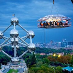 Dinner In The Sky #DontLookDown #Atomium #Brussels #CovalentBond #StainlessSteel #IonicBond #Architecture #Structures #Skyline #Cityscape #Architexture