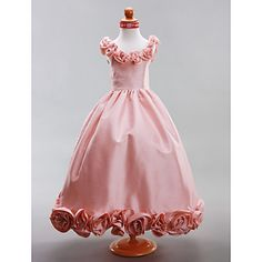 A-line/Princess Floor-length Flower Girl Dress - Taffeta Sleeveless – USD $ 99.99