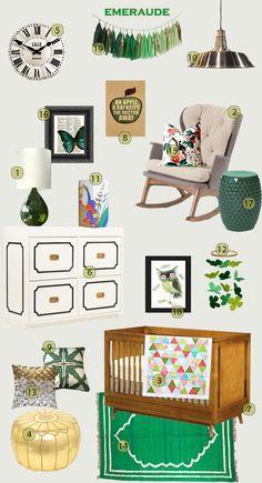 Emerald green nursery - pouponnière vert émeraude - chambre d'enfant