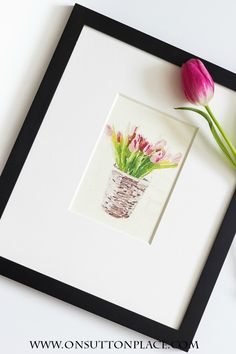 DIY Spring Tulip Watercolor Printables - On Sutton Place Diy Wall Art, Diy Art, Wall Decor, Paper Crafts, Diy Crafts, Art Mural, Decorating On A Budget, Tulip Watercolor, Watercolor Tips