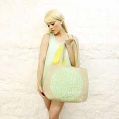 Mojo Spa Style Mint Green Lotus Flower Handbag READY TO SHIP. $50.00, via Etsy.