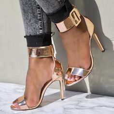 7f520acaeb Rose Gold Wide Buckle Accent Open Toe Single Sole High Heels Patent Faux  Leather