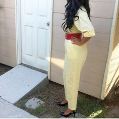 Vintage Yellow Jumpsuit Pale yellow vintage jumpsuit. Beautiful and trendy. Perfect for any season. Great vintage condition. Two pockets at the breast and 2 by the hips. Add a belt to cinch your own waist  and some heels and you're good to go! Tag says vintage 13 but would probably fit current size 9-14 since the waist is stretchy. Such a cute statement piece! and some heels and you're good to go! This has been dry cleaned and is ready to wear :). Vintage Pants Jumpsuits & Rompers
