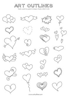 Cursive Alphabet Discover Set of Heart Illustrations - 29 Original Hand Drawn Vector Graphics Doodle Drawings, Easy Drawings, Doodle Art, Doodle Frames, Heart Doodle, Cursive Alphabet, Doodles, Heart Hands Drawing, Bullet Journal Inspiration