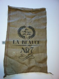 Burlap Sack Rustic French for pillows, wall decor, curtains, magnetic memo board. $14.95, via Etsy.