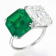 A 7.05ct Colombia, no oil rectangular-cut emerald and 9.04ct E VVS2 rectangular-cut diamond ring.