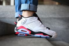 NIKE AIR JORDAN 6 RETRO LOW INFRARED WHITE 304401 123