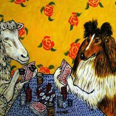SHEEP SHELTIE shetland sheepdog art tile COASTER gift JSCHMETZ abstract poker