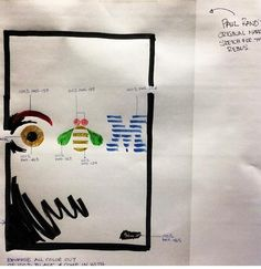 "Paul Rand's original sketch for the IBM ""rebus"" poster."