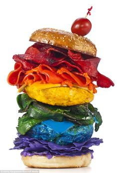 Everything included: A rainbow burger, entirely edible aside from the purple lettuce, is seen as one of New York photographer Henry Hargreaves's artistic creations in Brooklyn