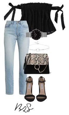 A fashion look from June 2017 featuring off shoulder lace top, blue high waisted jeans and black high heel shoes. Browse and shop related looks. Look Fashion, Teen Fashion, Korean Fashion, Fashion Outfits, Womens Fashion, Fashion Trends, Polyvore Outfits, Polyvore Fashion, Classy Outfits
