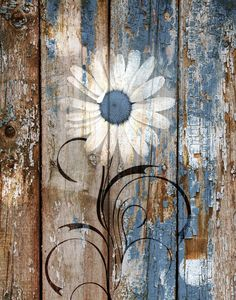 Rustic Home Decor, Brown Blue Rustic Wall Art, Blue Daisy Flower, Farmhouse Wall Art, Rustic Bedroom Bedroom Blue Wall Art Picture Farmhouse Wall Art, Rustic Wall Art, Rustic Walls, Wall Art Decor, Rustic Artwork, Room Decor, Arte Pallet, Wood Pallet Art, Fence Art