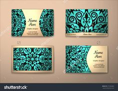 Vector Vintage Visiting Card Set. Floral Mandala Pattern And Ornaments. Oriental Design Layout. Islam, Arabic, Indian, Ottoman Motifs. Front Page And Back Page. - 375384880 : Shutterstock