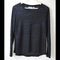 Black Shirt w/ Blue Sparkles Transparent material...Worn Once...Great Condition Simply Vera Vera Wang Tops Tees - Long Sleeve