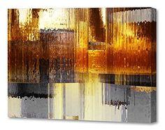 "#!  Menaul Fine Art ""City Rain"" Limited Edition Artwork, 45 x 30"", Orange/Yellow/Gold/Brown/Grey/Black/White"