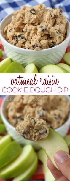 Oatmeal Raisin Cookie Dough Dip is so simple to whip together, that it will quickly become your new favorite sweet dip for parties! Serve it with green apples and graham crackers. Cookie Dough Dip, Healthy Cookie Dough, Cookie Dough Recipes, Edible Cookie Dough, Best Appetizers, Appetizer Recipes, Snack Recipes, Dessert Recipes, Grape Recipes