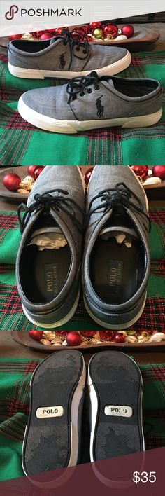 """Polo Ralph Lauren men's shoes, Size 10.5 Polo Ralph Lauren men's shoes, Size 10.5D. The """"D"""" means medium, meaning they are not narrow nor wide, just medium.   Shoe is gray; laces and accents are black. Pet-free, smoke-free home. A very versatile shoe, looks great with khakis, jeans, or shorts. My growing son just grew out of them too quickly. Bundle for discount. Polo by Ralph Lauren Shoes"""