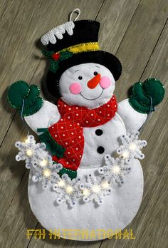 Details about Bucilla Snowflake Snowman ~ Felt Christmas Wall Hanging Kit 86820 Frosty Lights Christmas Wall Hangings, Felt Christmas Decorations, Felt Christmas Ornaments, Christmas Snowman, Christmas Crafts, Diy Ornaments, Beaded Ornaments, Homemade Christmas, Glass Ornaments