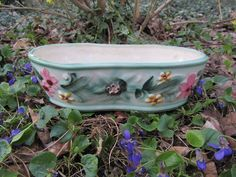 Vintage Flower Planter Ceramic Oblong Pot Green Painted Vase Pink Yellow Flowers Raised Floral Motif Japan Art Garden Decor Gift by WillowValleyVintage on Etsy