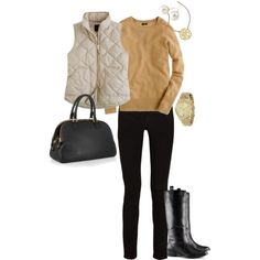 quilted vest in the city: fitted camel sweater, slim black pants, sleek boots and bag, gold accessories
