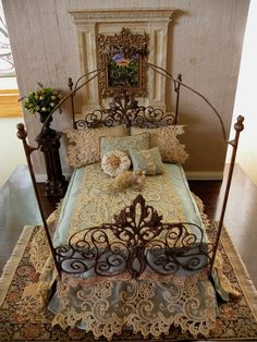 "Artisan Made Dressed ""Beth"" Wrought Iron Canopy Bed, Half Scale, Dollhouse Scale, Barbie Scale, Doll Scale Miniature Rooms, Miniature Houses, Miniature Furniture, Dollhouse Furniture, Miniature Kitchen, Victorian Dolls, Victorian Dollhouse, Dollhouse Dolls, Dollhouse Miniatures"