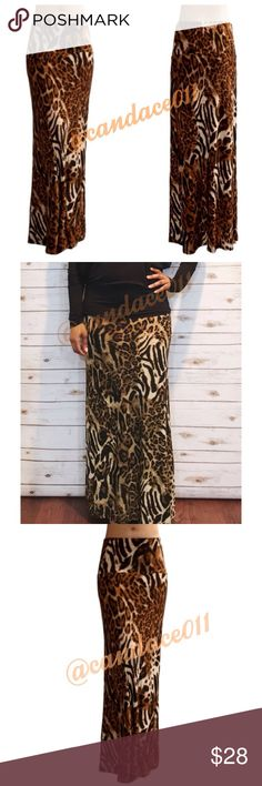 ⭐️5 STAR rated!⭐️Animal Print Maxi Skirt 🔹95% Polyester, 5% Spandex 🇺🇸Made in the USA🇺🇸 🔹Size suggestions:  S (2-4), M (6-8), L (10-12), XL (14-16) CC Boutique  Skirts Maxi