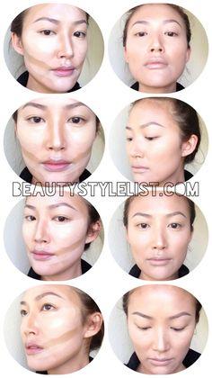 How to contour your face with liquid foundation. Eye Makeup Art, Contour Makeup, Makeup Dupes, Makeup Eyeshadow, Makeup Brushes, Contour Face, Face Contouring, Makeup Artistry, Asian Makeup Tips