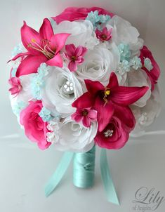 """17 Piece Package Wedding Bridal Bride Maid Of Honor Bridesmaid Bouquet Boutonniere Corsage Silk Flower TIFFANY BLUE FUCHSIA """"Lily of Angeles"""