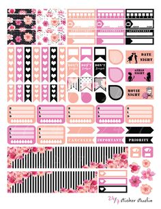 Elegant Floral Printable Planner Stickers for the Erin Condren Life Planner You will receive 1 ZIP file (2 PDF+2JPEG)--8,5x11 *10 full box