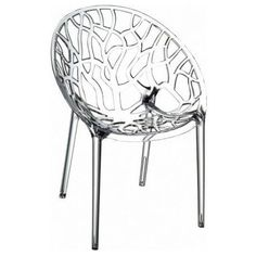 Compamia ISP052-TCL Crystal Polycarbonate Modern Dining Chair in Transparent - Set of 2