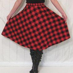 Vintage red & black plaid FLANNEL skirt, elasitc waist http://www.ebay.com/itm/Vintage-70s-80s-Red-Black-PLAID-checkered-full-skirt-TARTEN-flannel-midi-warm-S-/200876589034?pt=Vintage_Women_s_Clothing=item2ec52d7fea