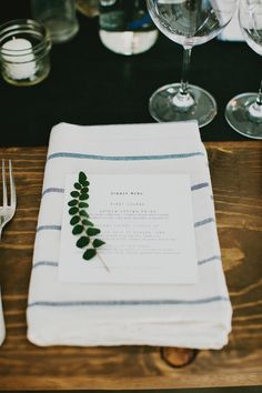 Simple menu. Photography by Milou + Olin | milouandolin.com, Event Planning, Flowers + Stationery by Bash, Please | bashplease.com | Read more - http://www.stylemepretty.com/2013/06/13/durham-ranch-wedding-from-milou-olin-photography-bash-please/
