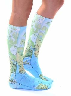 """HAVE FUN IN THESE CUTE MAP KNEE HIGH SOCKS! *UNISEX *100% POLYESTER *MADE IN THE USA *ONE SIZE FITS MOST *WOMEN'S SHOE SIZE 4-12 *MENS SHOE SIZE 6-13 *20"""" L X 4"""" W"""