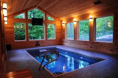 Endless pool an Endless Pools:registered: cabin in the woods Swimming Pool Pictures, Indoor Swimming Pools, Swimming Pool Designs, Lap Pools, Backyard Pools, Pool Landscaping, Jacuzzi, Cabana, Small Indoor Pool
