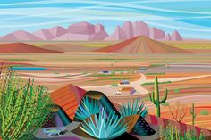 Inch Print (other products available) - An Arizona style landscape looking out on a valley from a mountain with cactus and a blue lizard onto a big, flat valley and mountains in the background - Image supplied by Fine Art Storehouse - print made in the UK Sonora Desert, Blue Lizard, Canvas Wall Art, Canvas Prints, Pink Mountains, Fine Art Prints, Framed Prints, Quirky Art, Big Photo