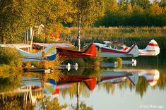 Float planes on Lake Hood, the world's largest and busiest seaplane base. Anchorage, Alaska