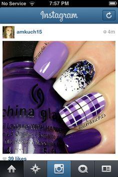 Purple plaid nails