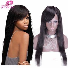 Glueless Silky Straight 150% Density Lace Front Wigs Unprocessed Virgin Brazilian Full Lace Human Hair Wigs With Bangs