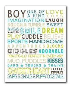 Free printable - boy subway art (also a version for girls). Re-size, use for project life.