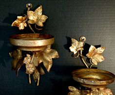 Two Vintage Italian Florentine Wall Sconces / Electric Wall Sconce / Italian Tole / French Decor