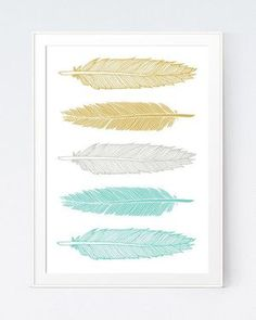 Grey Gray Yellow Feather Print Mustard and Gray by SutilDesigns Lovely yellow living room accessories argos only in popi home design Gold Wall, Coral Wall Art, Coral Walls, Grey Wall Art, Grey Walls, Wall Décor, Wall Murals, Grey And Yellow Living Room, Grey Room