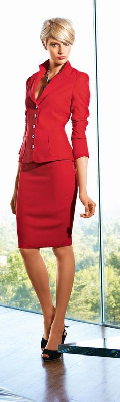 Work red. Red is a color for self-confident women ready to make a statement and definitely not afraid to get noticed.  So all women should have red outfits!