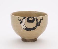 "Japanese Art   Kyoto ware tea bowl with seals ""Shuhei""   F1898.130"