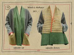 Ollie Zwitserlood - Belgium designer of sweaters intended to be able to be worn two ways -- knitting inspiration. Also, note to self, great colors here. Sewing Clothes, Diy Clothes, Recycled Sweaters, Sweater Refashion, Old Sweater, Shirt Bluse, Recycled Fashion, Pulls, Dressmaking