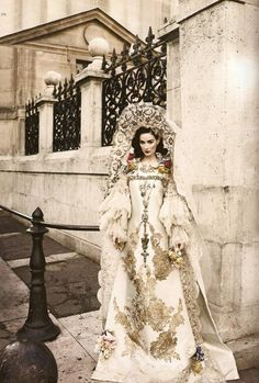 Dita Von Teese wearing Christian Lacroix Haute Couture, in Bazaar Russia.
