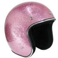 Outlaw Retro Pink Mega Flake Open Face Helmet
