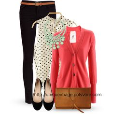 black skinny jeans, black/white polka dot blouse, pink sweater, black flats, mint bauble necklace, brown messenger bag